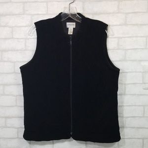Chicos Travelers black quilted texture vest size 1